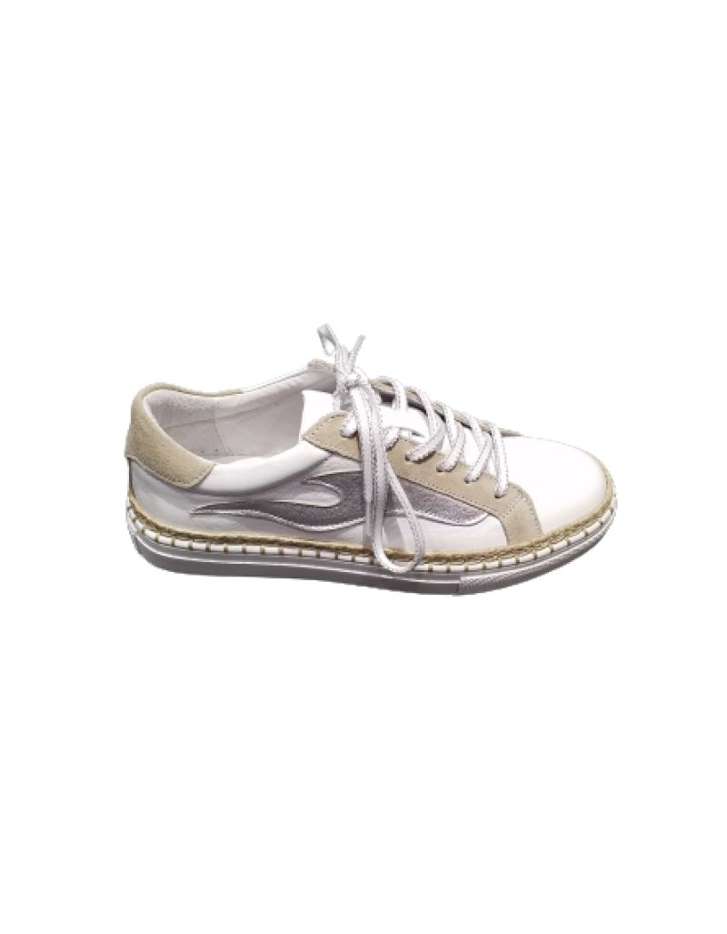 ONE STEP - Sneackers blanche et silver, en cuir