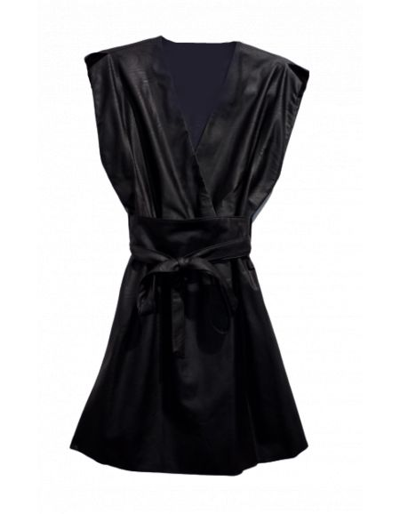 PLEASE - Robe simili cuir noir