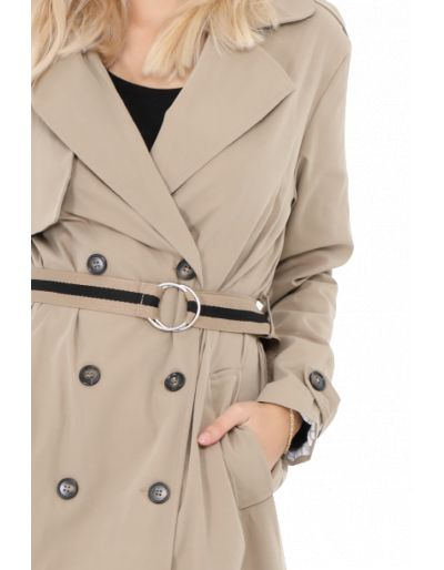 Trench long avec sa ceinture, taupe