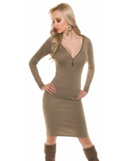 Robe en mailles, taupe