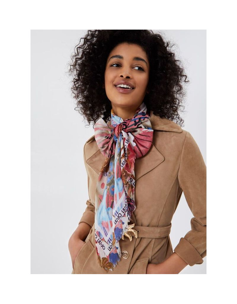 LIU.JO - Foulard carré à motifs jungle, rose