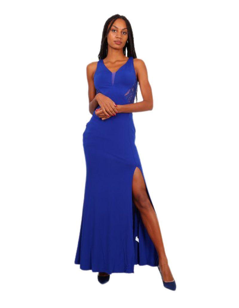 Robe longue de soirée, bleu