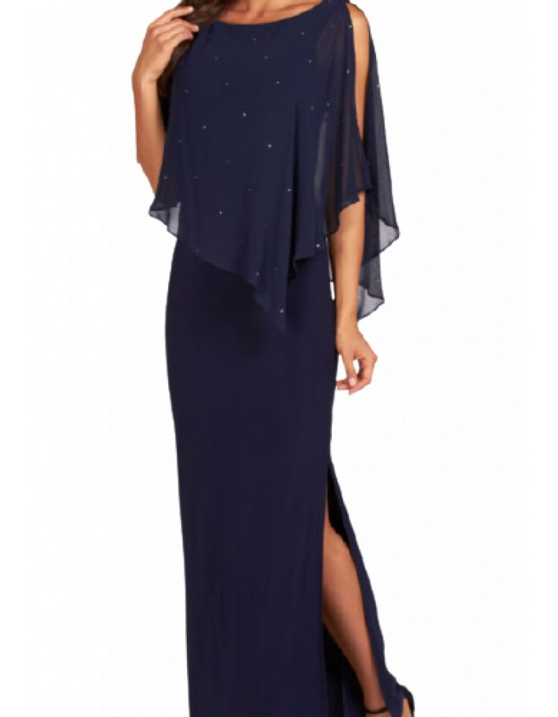 FRANK LYMAN - Robe longue de cocktail, bleue marine