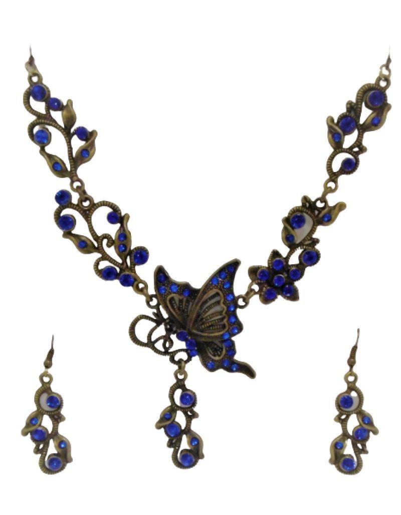 Parure fantaisie papillon, bleue marine