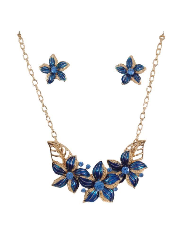 Parure fantaisie bleue à fleurs