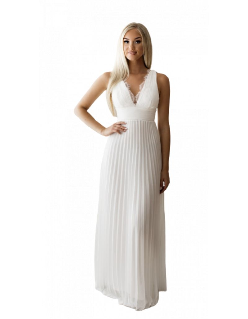 Robe longue de cocktail, blanche