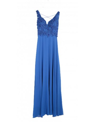 Robe longue de cocktail, bleu royal