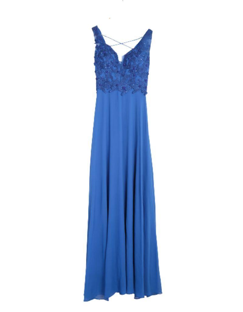 Robe longue de cocktail, bleu royal
