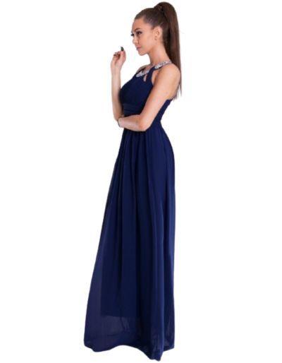 Robe longue de cocktail, bleue marine
