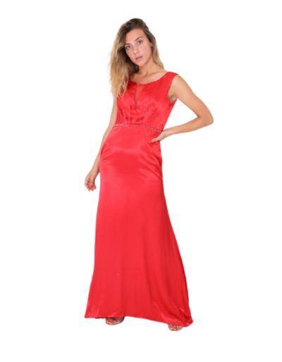 Robe longue de cocktail, rouge