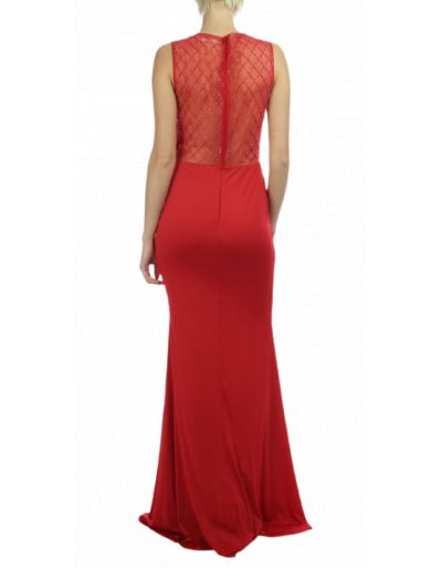 Robe longue rouge, à strass