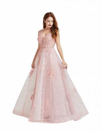 Robe longue de cocktail, rose