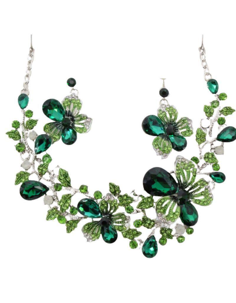 Parure fantaisie fleurs, verte / émeraude