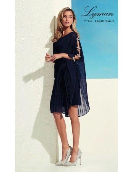 FRANK LYMAN - Robe plissée, bleue nuit