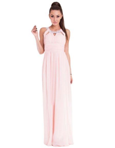 Robe longue de cocktail, rose à strass