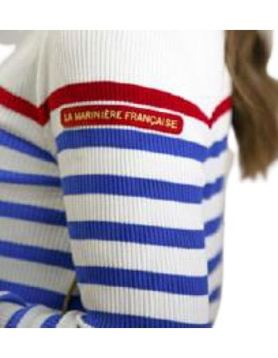 LA MARINIERE FRANCAISE - Pull Morgane, blanc / bleu dur