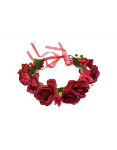 Couronne de fleurs réglable, pour cheveux, rouge