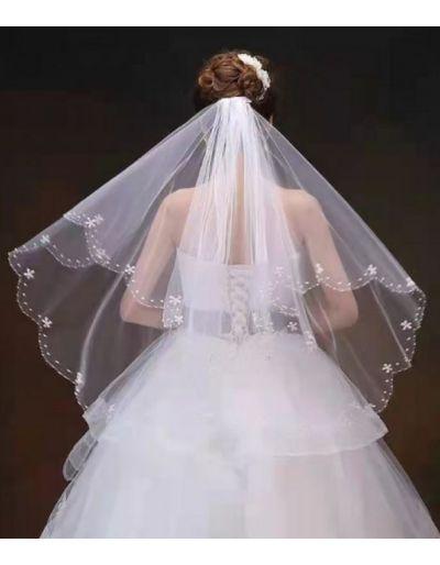 Voile de mariée, perlé, blanc