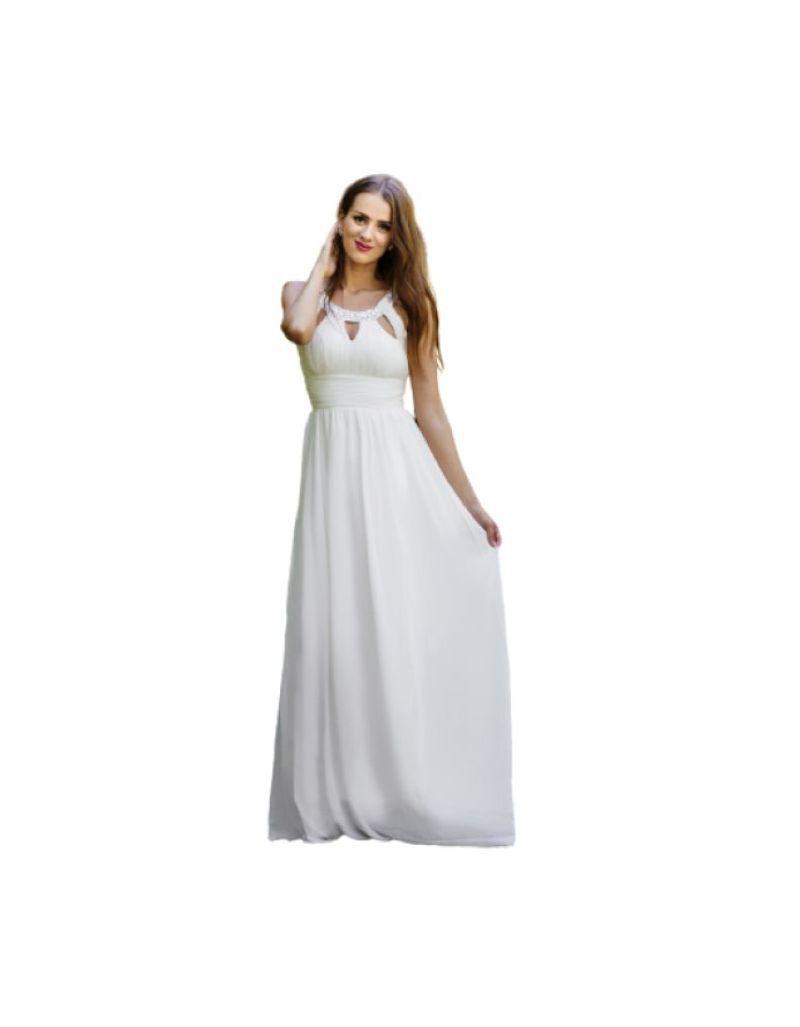 Robe longue de cocktail, blanche à strass