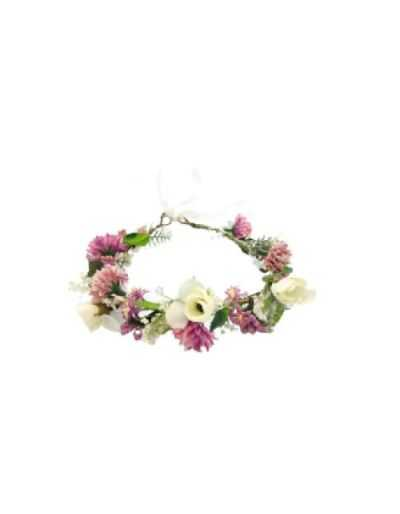 Couronne de fleurs séchées réglable, pour cheveux