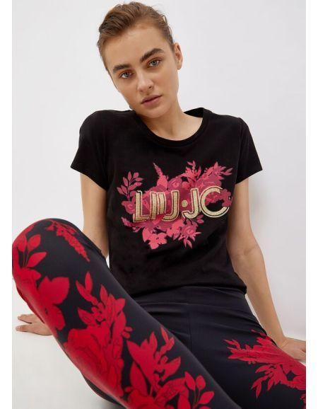 LIU.JO SPORT - T-shirt noir avec fleurs et strass