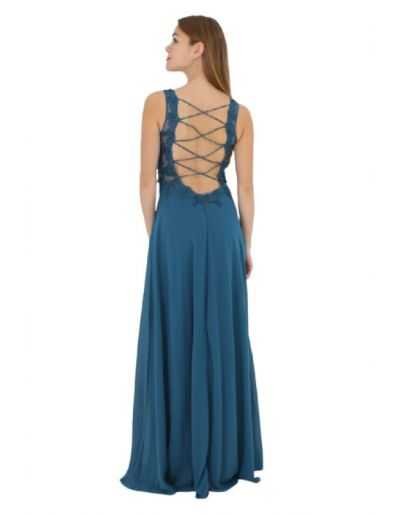 Robe longue de cocktail, bleu canard