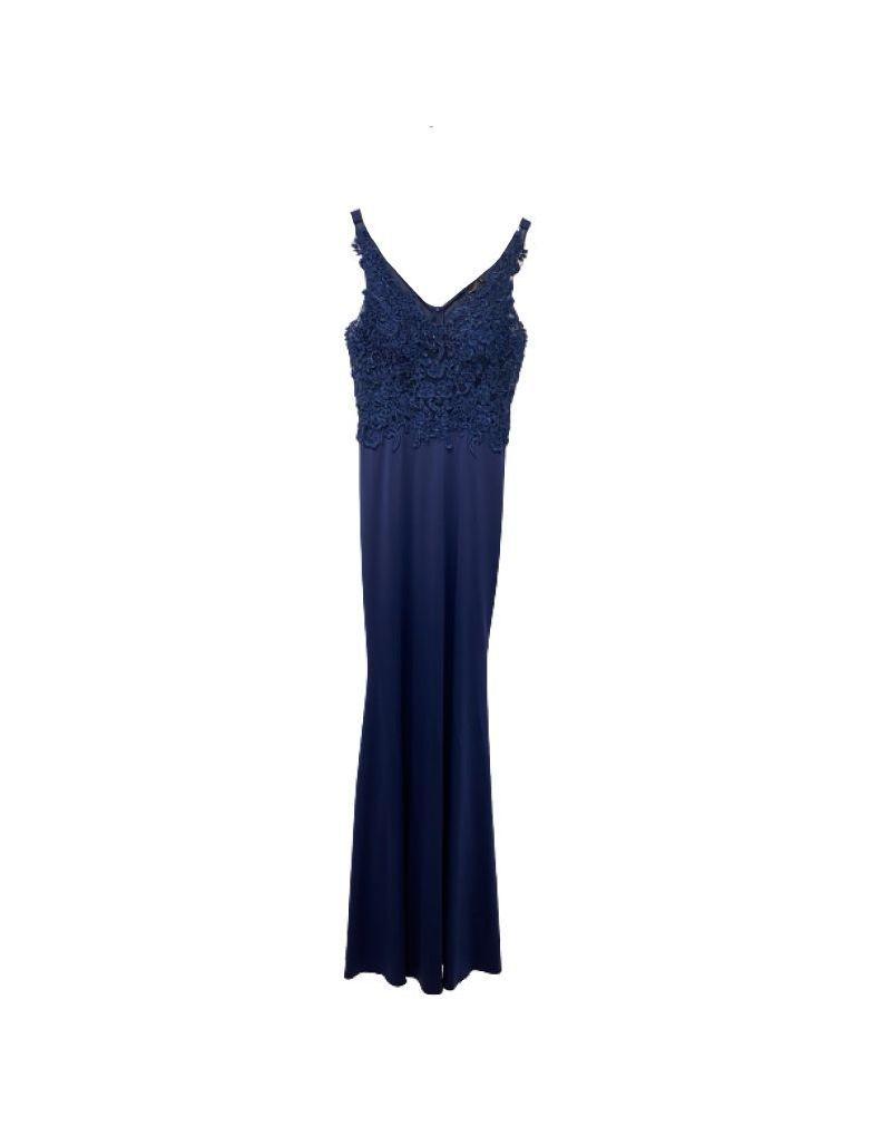 Robe longue de soirée, bleue marine