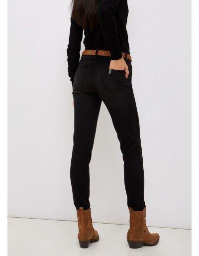 LIU.JO - Jean skinny noir avec sa pochette léopard