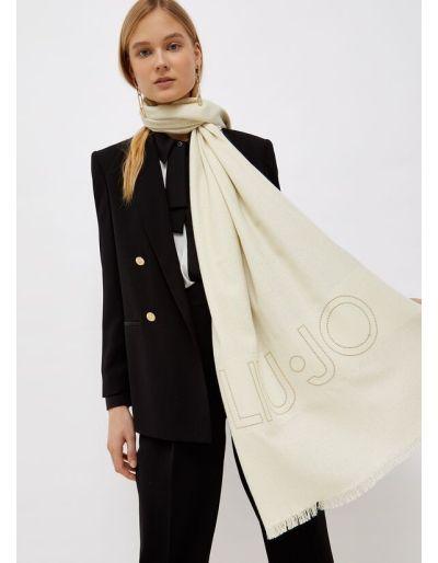 LIU.JO - Étole avec logo jacquard beige brillante