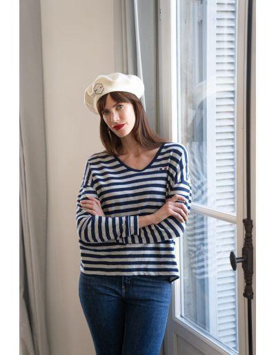 LA MARINIERE FRANCAISE - Tee-shirt ample, Lou marine/gris