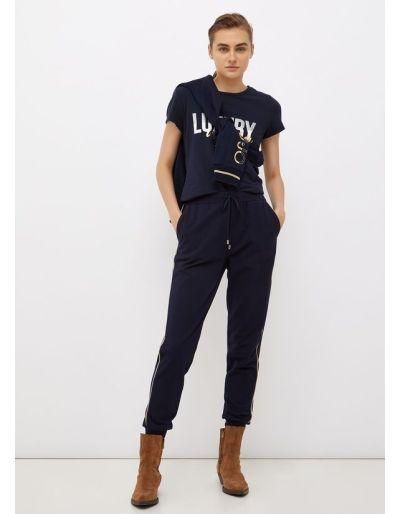 LIU.JO SPORT - T-shirt bleu marine avec imprimé glitter