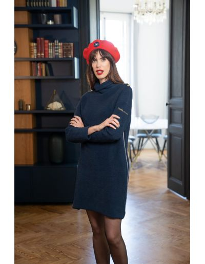 LA MARINIERE FRANCAISE - Robe pull col roulé bleu marine, Caroline