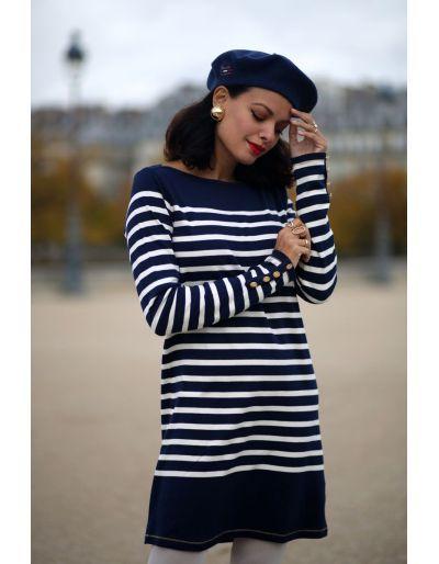 LA MARINIERE FRANCAISE - Robe courte marinière bleu marine, Alice